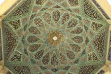 Handicraft ceiling of tomb of Hafez. Shiraz, Iran